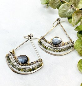 Handmade grey moonstone woven with faceted labradorite on hand formed sterling silver arch earrings