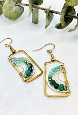 Handmade amazonite, chrysocolla, aquamarine, crystal hand formed brass and sterling silver rectangle earrings.