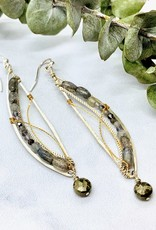 Handmade pyrite drop, labradorite, hand formed sterling silver semi circle with brass accent earrings