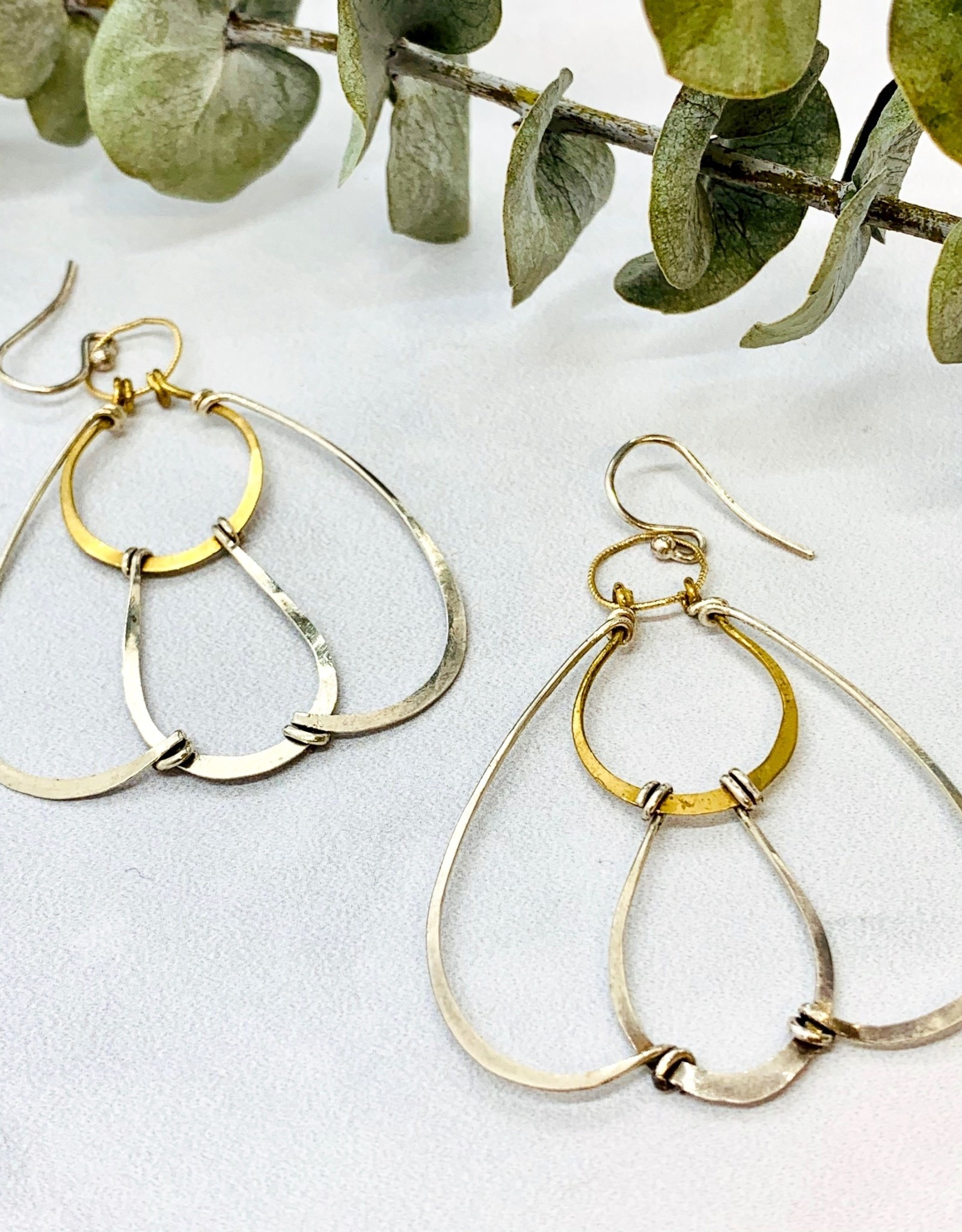 Handmade hand formed brass and sterling silver petal earrings