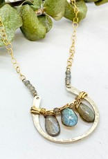 "Handmade luster labradorite, handwoven gold filled, sterling silver arch 16"" - 18"" necklace"