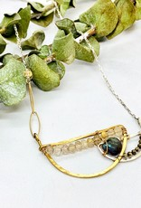 """Handmade Necklace with Blue Labradorite Drop, Rutliated Quartz and a Pyrite Beaded Handformed Semi Circle Pendant on Sterling Silver and Goldfill Chain.  16-18"""""""
