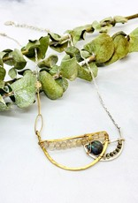 Handmade Necklace with Blue Labradorite Drop, Rutliated Quartz and a Pyrite Beaded Handformed Semi Circle Pendant on Sterling Silver and Goldfill Chain.  16-18""