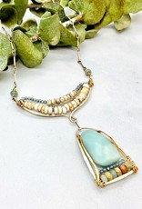 "Handmade amazonite, howlite, apatite, bronze, hand formed sterling silver arch, 16"" to 18"" necklace"