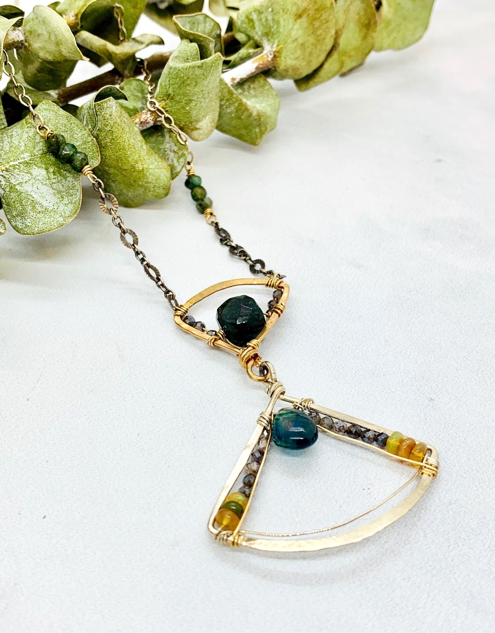 "Handmade apatite drop, green labradorite, moonstone, pyrite hand formed bronze accent and sterling silver fan pendant 16""-18"" necklace"