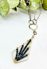 "Handmade black spinel tiny faceted gems woven on gold-filled and oxidized sterling silver diamond pendant 16""-18"" necklace"