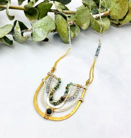 """ABAM Handmade chrysocolla, apatite, hand formed brass and sterling silver arch 16""""-18""""necklace."""