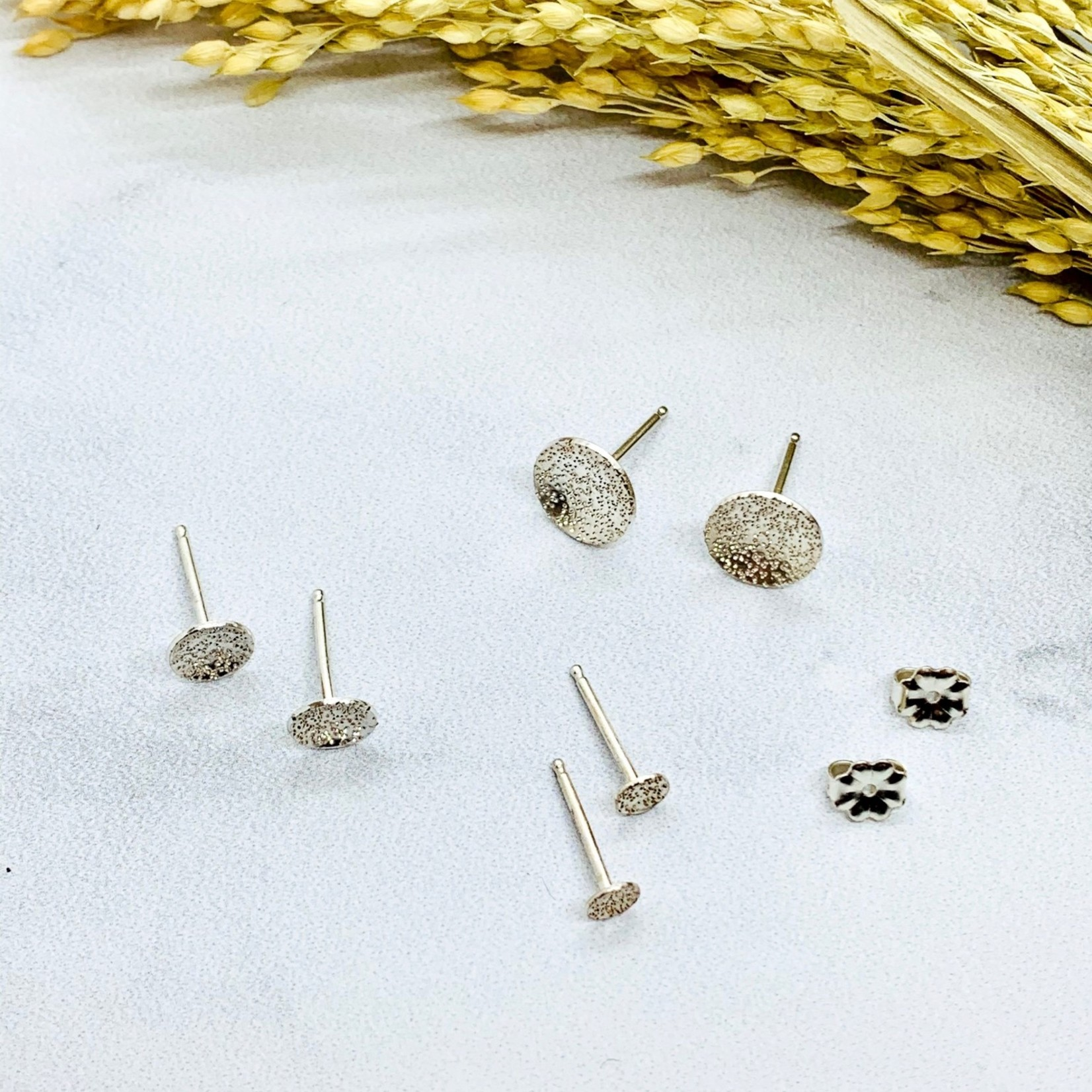 Diamond Dusted Round Studs, Silver