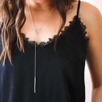 """Handmade 26"""" Diamond Dusted Silver Lariat Necklace"""