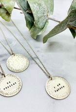Sterling Silver Diamond Dusted Small Coin Necklace