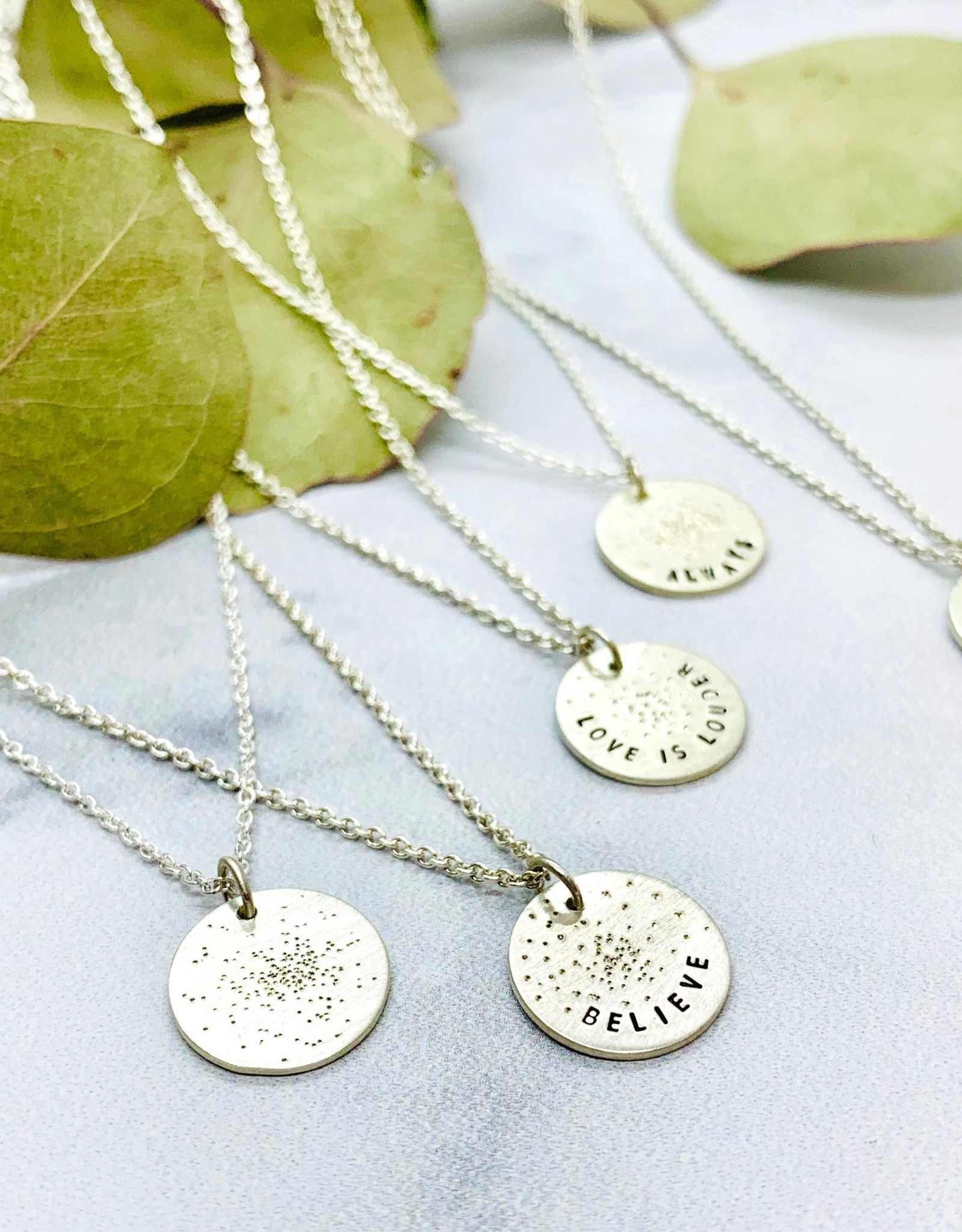 Diamond Dusted Silver Mini Coin Necklace