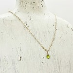 Handmade Silver Necklace with Peridot Briolette