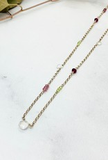 Handmade Necklace with 3 tiny rainbow moonstone briolettes, rhodolite garnet, stations 3 each peridot, pink spinel