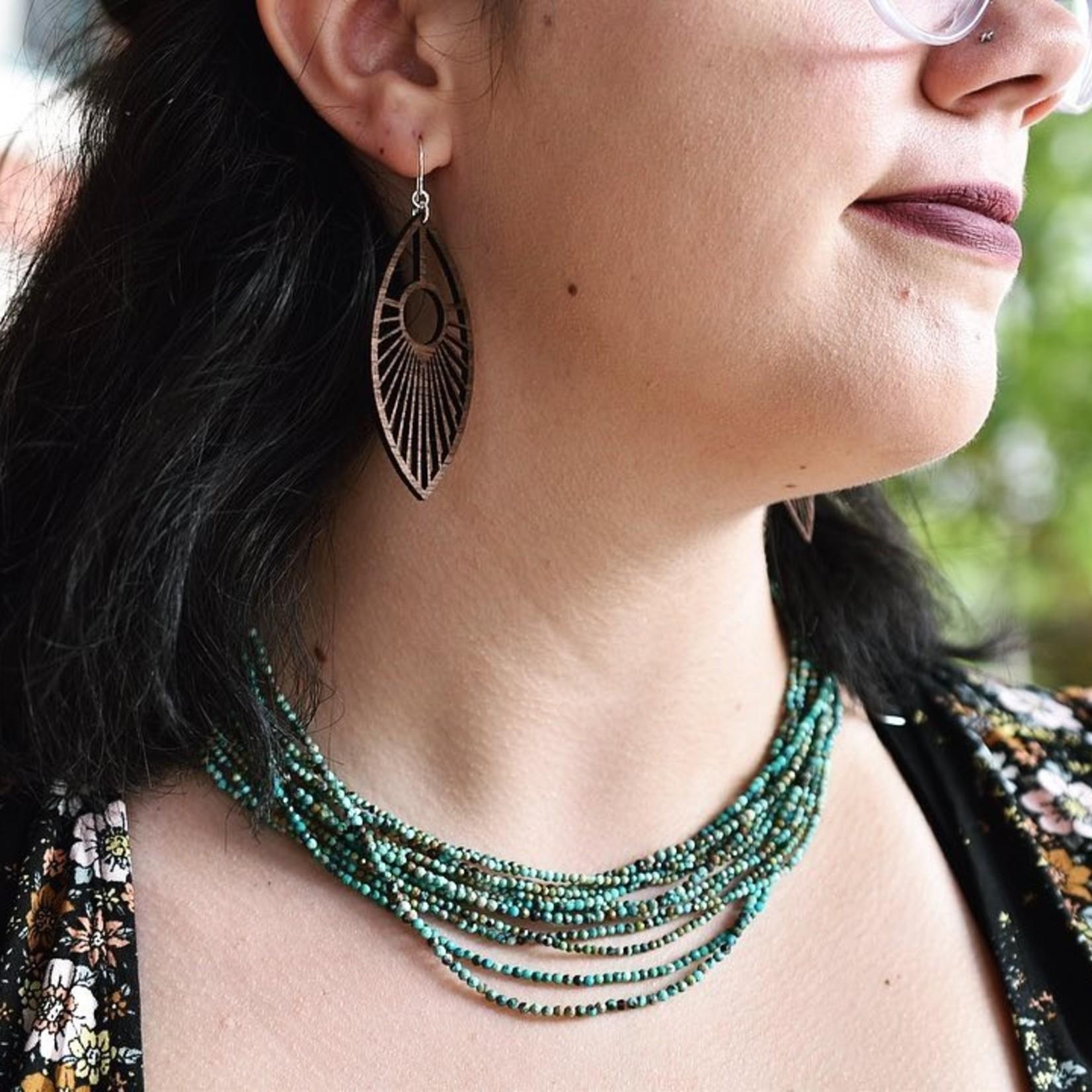 Peacock Lasercut Wood Earrings