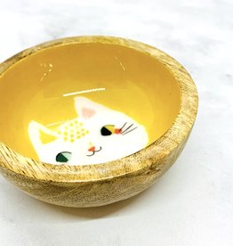 Meow Meow Mango Wood Mini Bowl