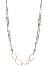 """Handmade14kt Goldfill Leaf shape links on double strand 24"""" necklace strung with sterling, 6mm labradorite, grey pearl, and 14kt gold vermeil bead"""