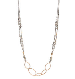 "Handmade14kt Goldfill Leaf shape links on double strand 24"" necklace strung with sterling, 6mm labradorite, grey pearl, and 14kt gold vermeil bead"