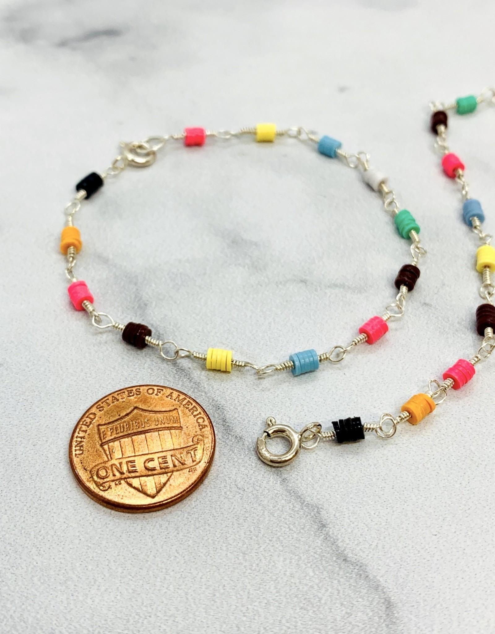 African Music Vinyl Bead Bloom Bracelet
