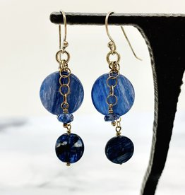Handmade Silver Earrings with 2 kyanite on chains, 1 sapphire
