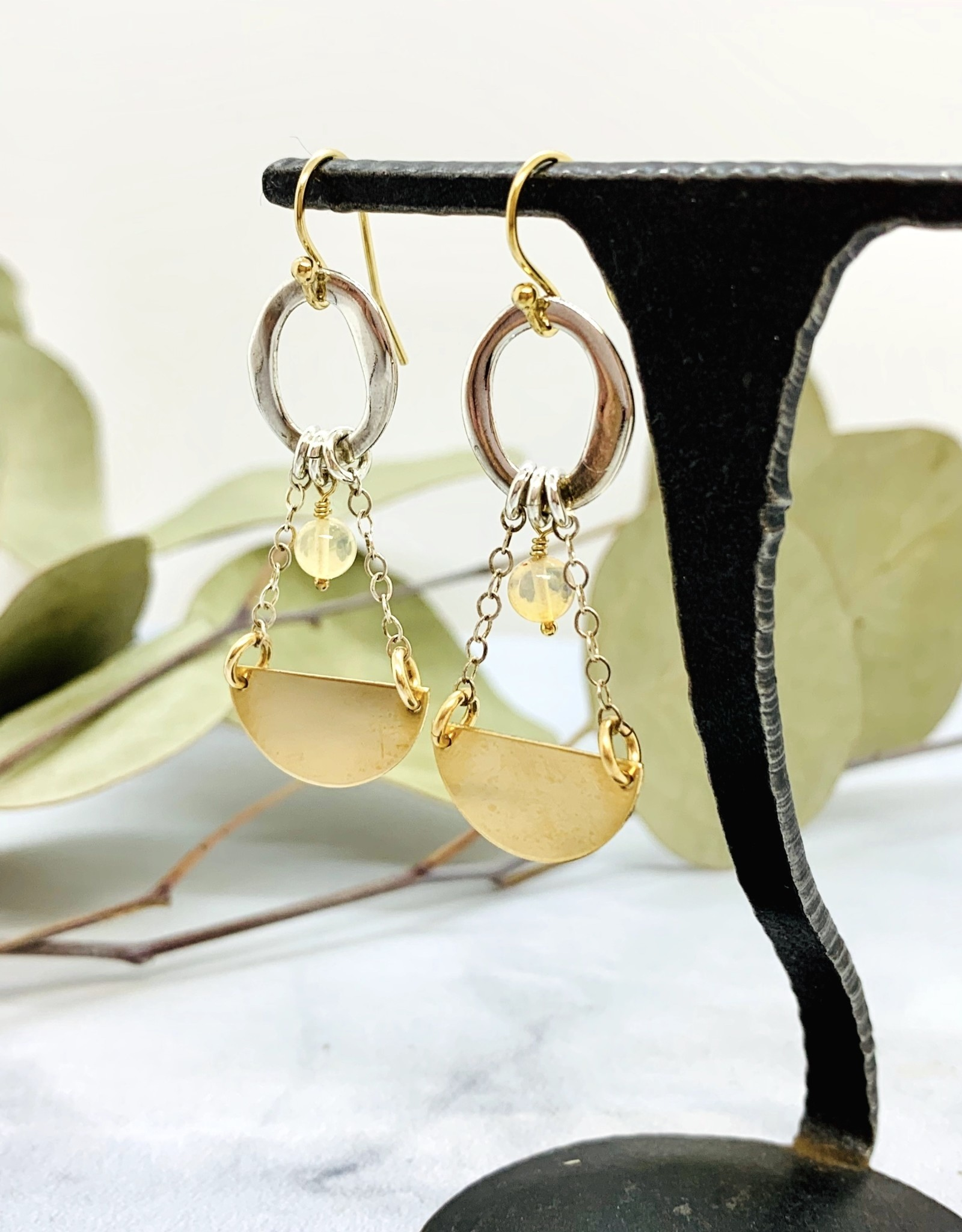 EVANKNOX Handmade Sterling Silver Earrings with opal ball, shiny organic circle, 14 k g.f. 1/2 circle