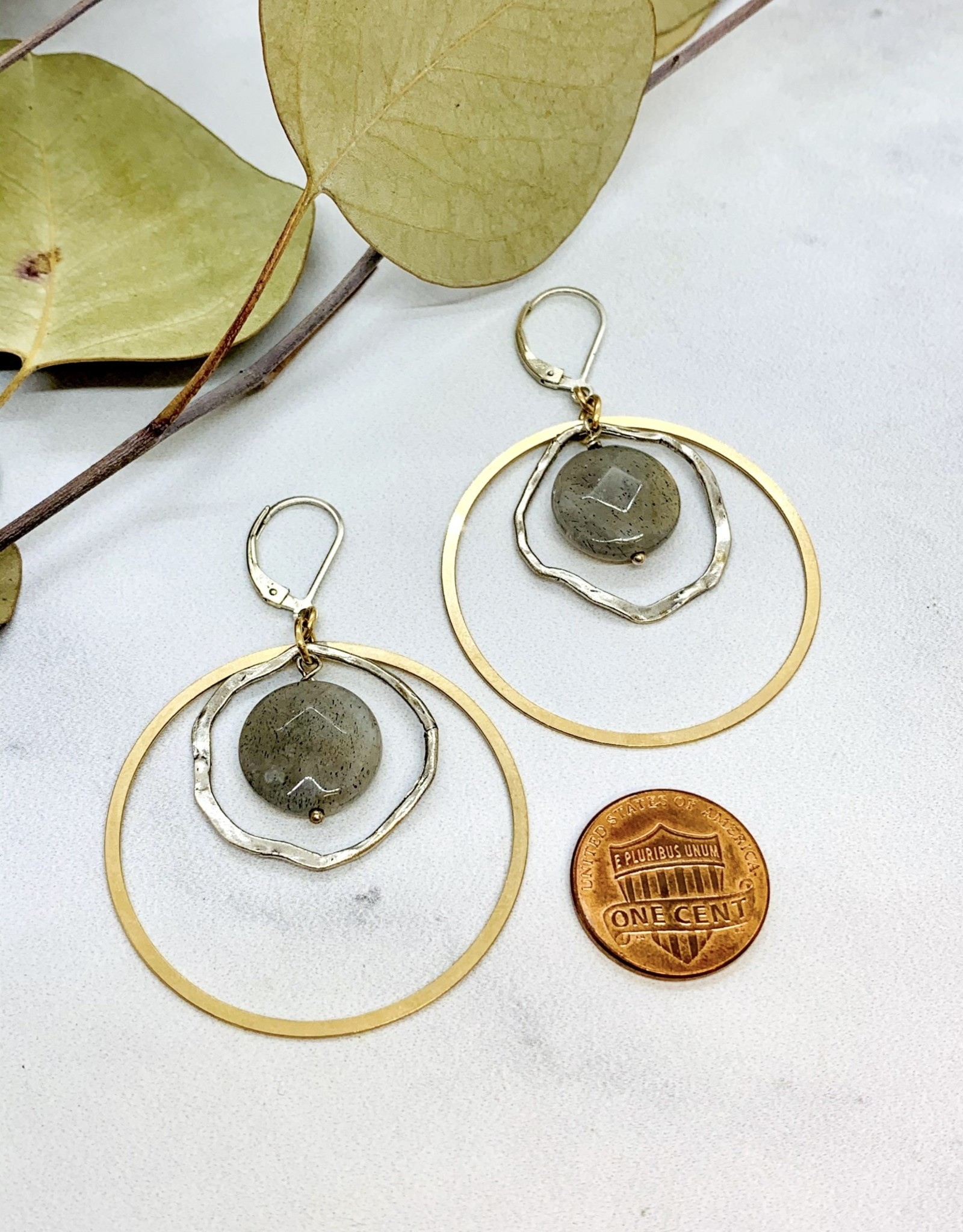 EVANKNOX Handmade Sterling Silver Earrings with 14 k g.f. ring, shiny organic circle, large labradorite coin