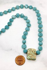 Handmade Sterling Silver Necklace with faceted amazonite coins, chrysocolla rectangle knotted on natural silk