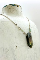 Handmade Sterling Silver Necklace with labradorite, stack 3 faceted amazonite each side