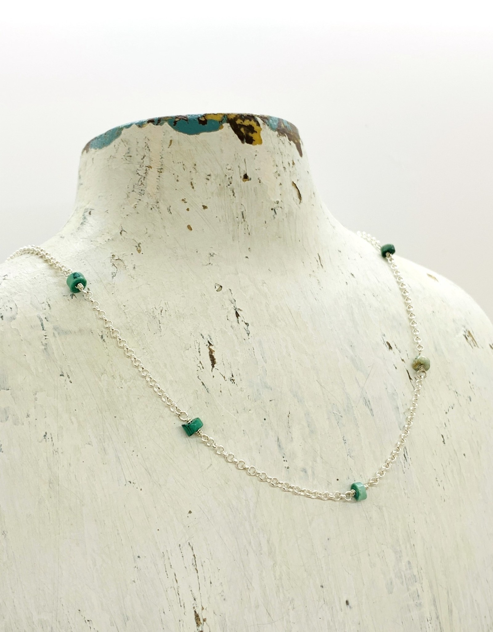 EVANKNOX Handmade Sterling Silver Necklace with turquoise on shiny rolo chain