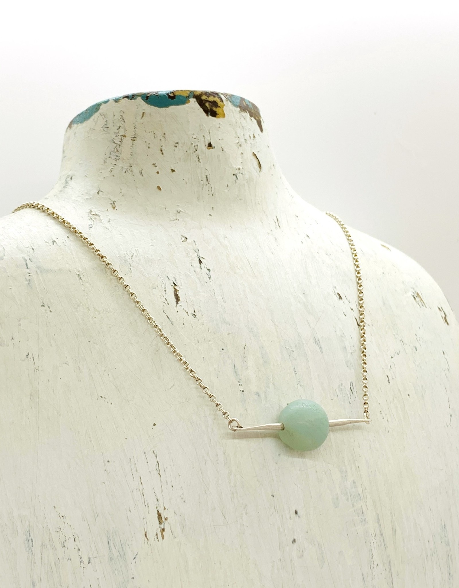 Handmade Silver Necklace with large matte amazonite, shiny bar, shiny silver chain