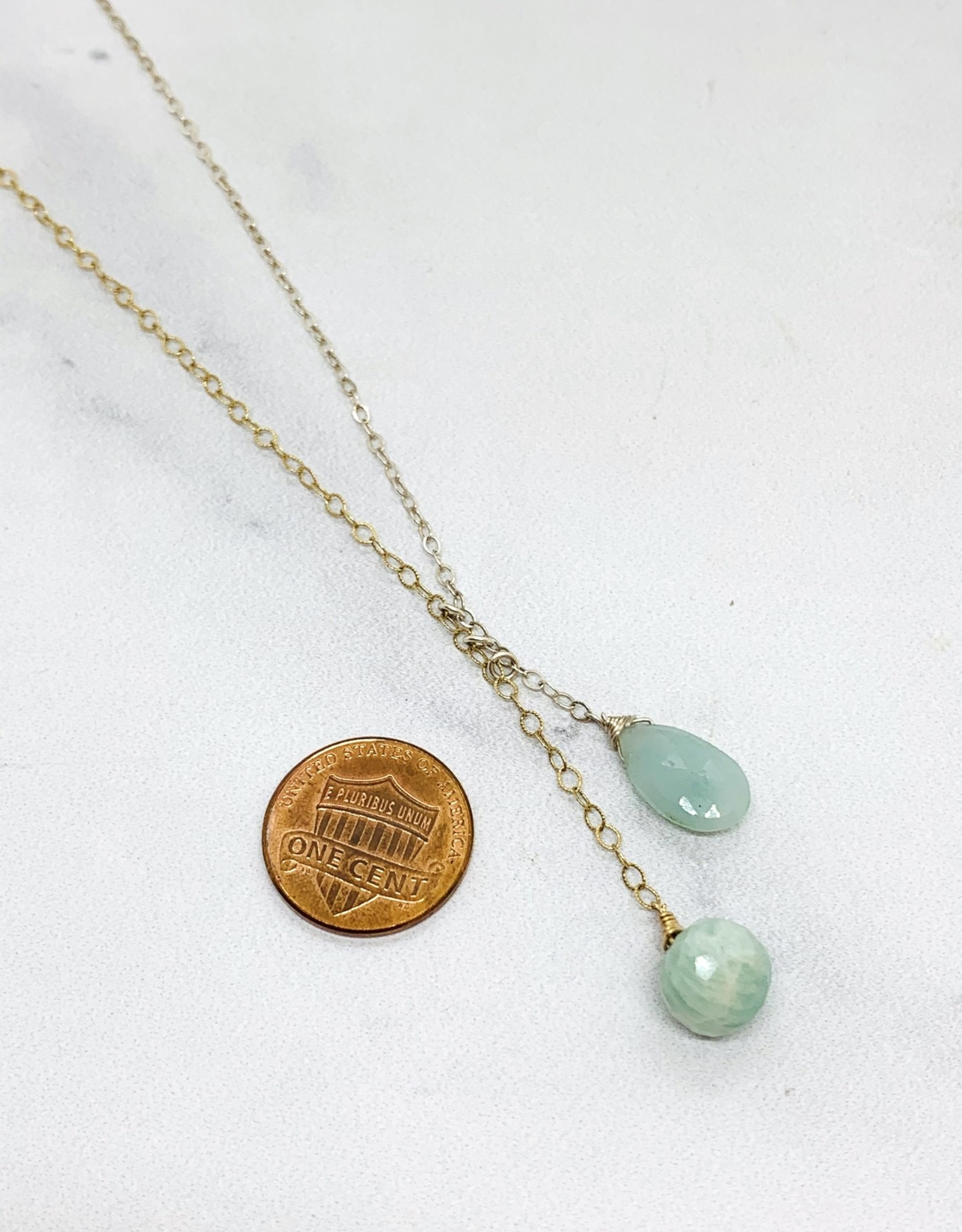 Handmade Silver Necklace with bolo: amazonite briolette/silver, amazonite onion stick/14 k g.f.