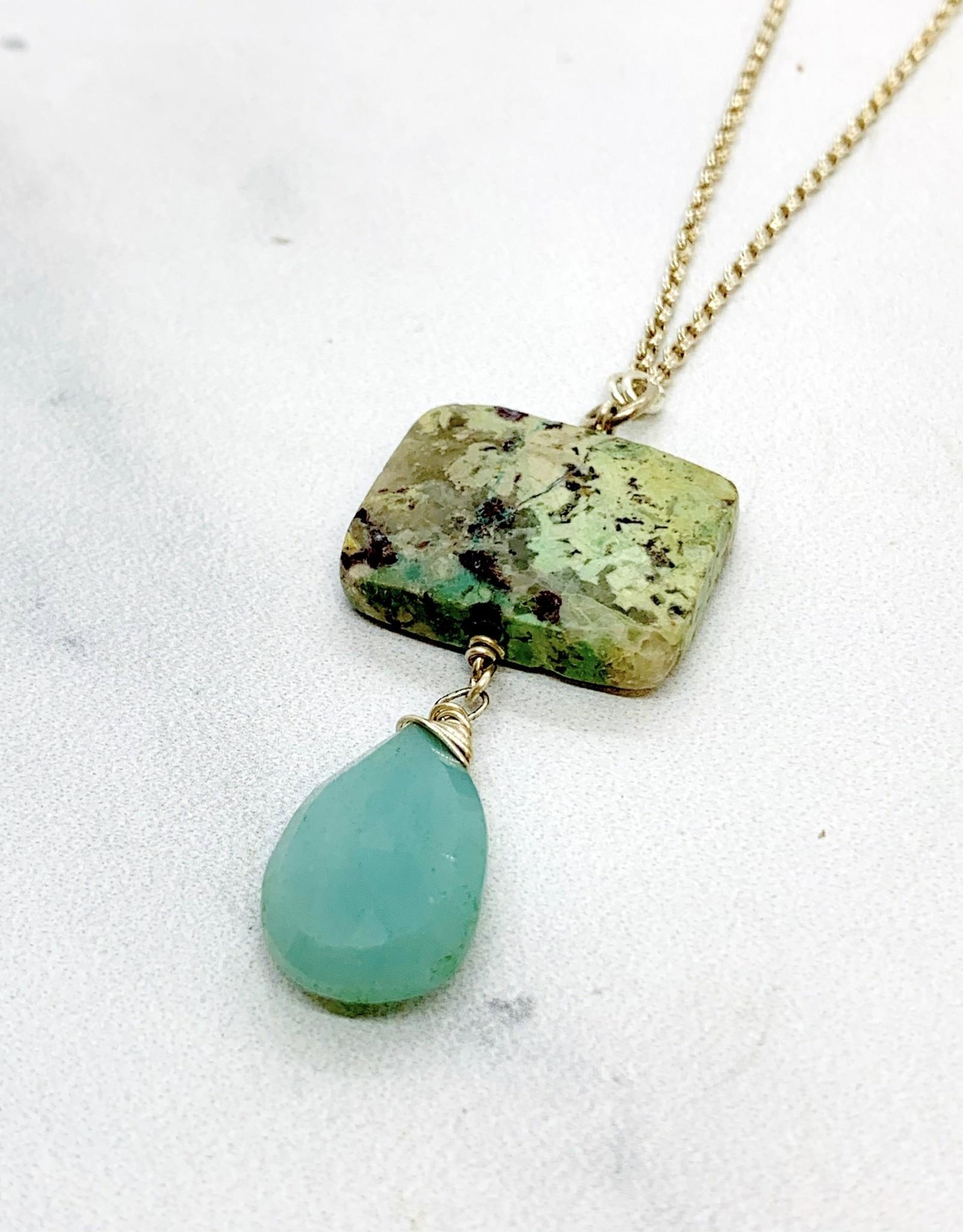 Handmade Silver Necklace with amazonite briolette, chrysocolla square