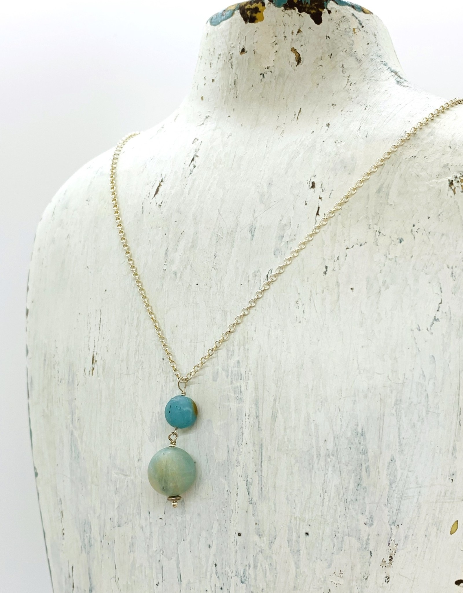 Handmade Silver Necklace with medium matte amazonite,large matte amazonite, shiny
