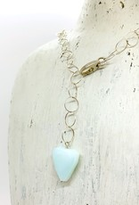 Handmade Silver Necklace with large open ring chain, big lobster clasp, and large blue opal nugget