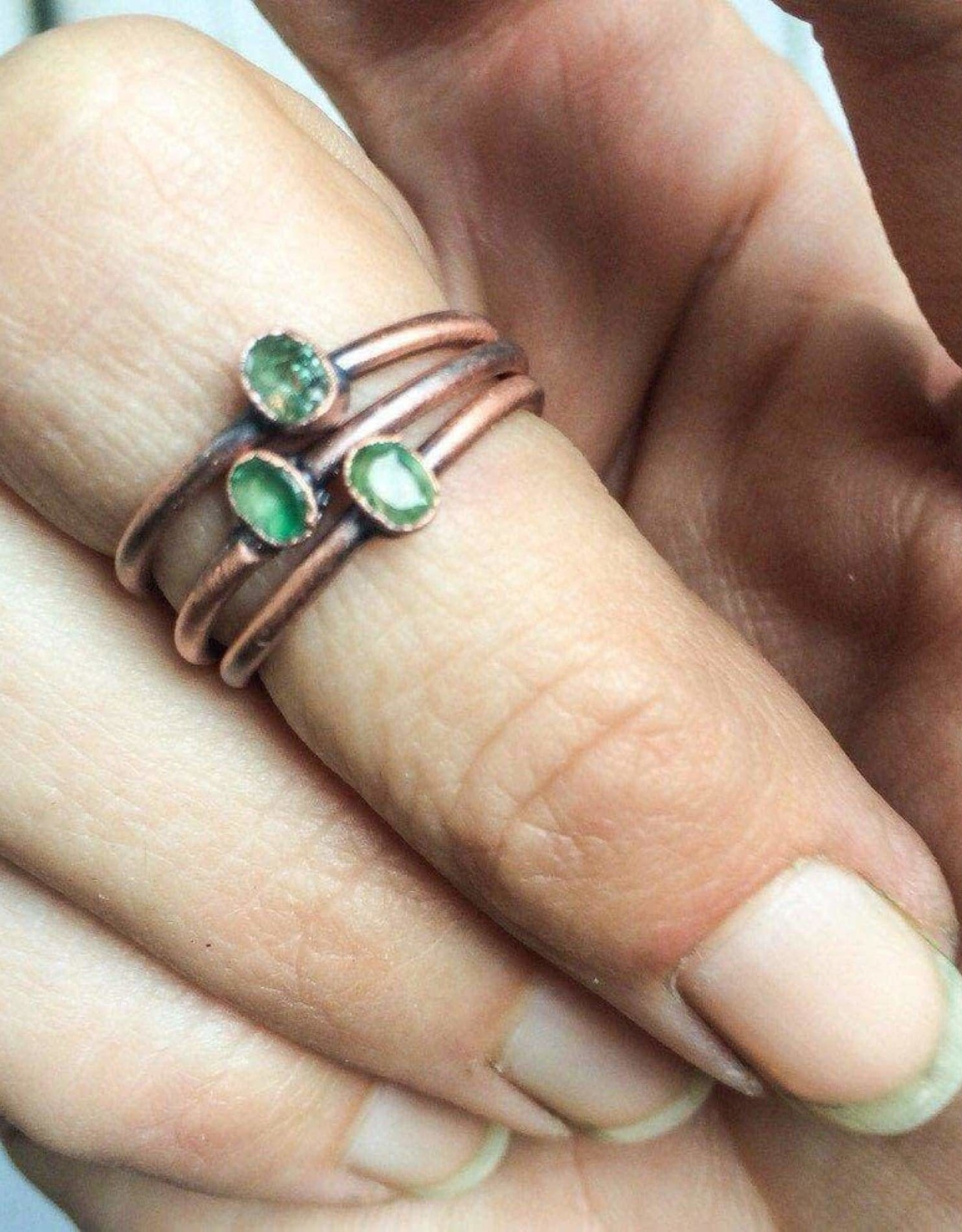 HawkHouse Tiny Raw Stone and Copper Electroplated Ring by Hawkhouse Designs