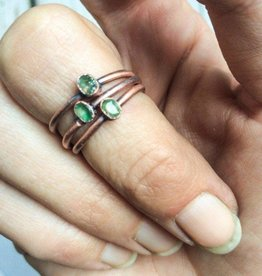Tiny Raw Stone and Copper Electroplated Ring by Hawkhouse Designs