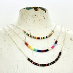 Sterling Silver and Music Vinyl Beaded Necklace