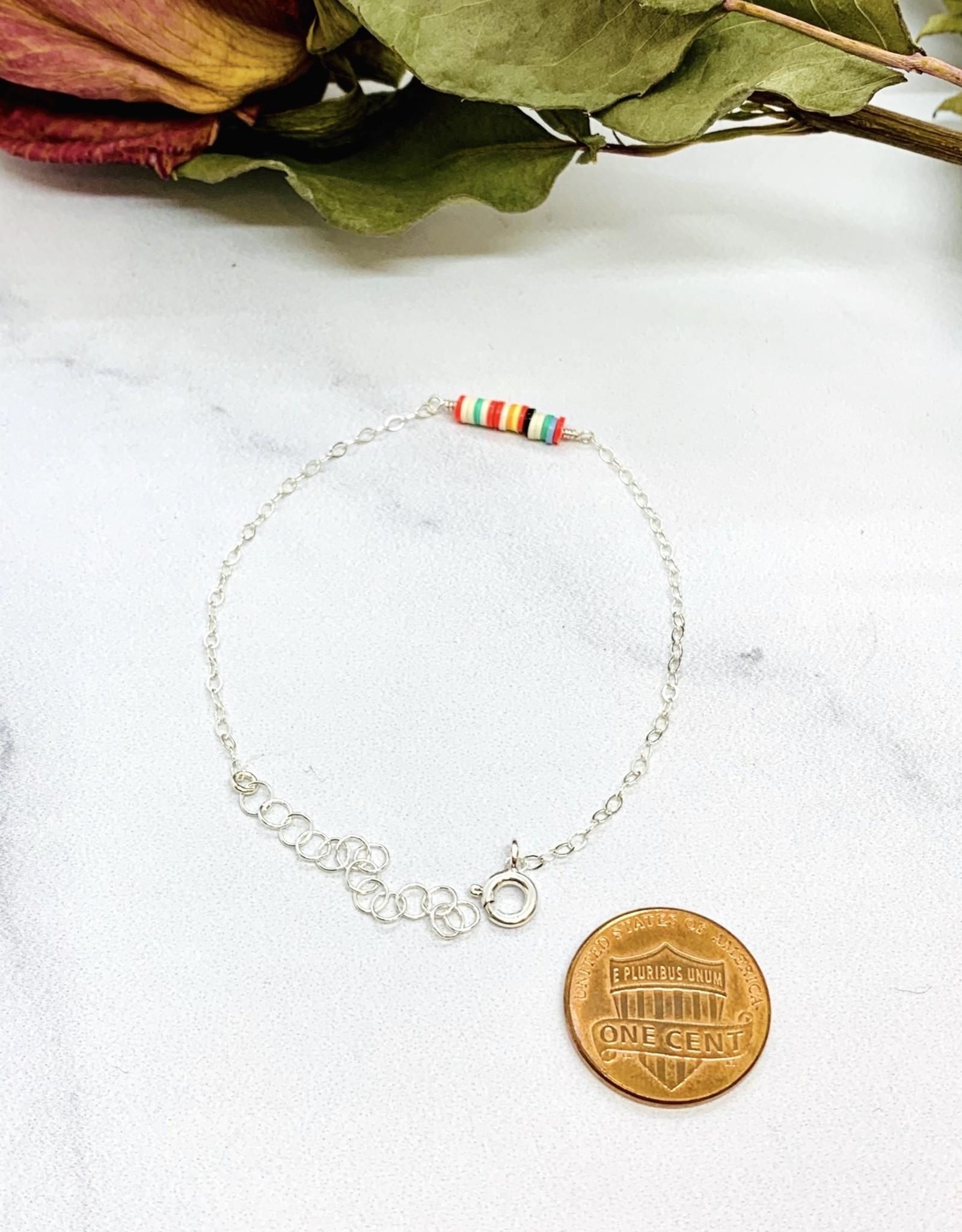 Sterling Silver and Music Vinyl Beaded Bracelet