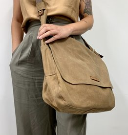 The LARGE Finch Satchel in Spice Waxed Canvas and Antique Leather