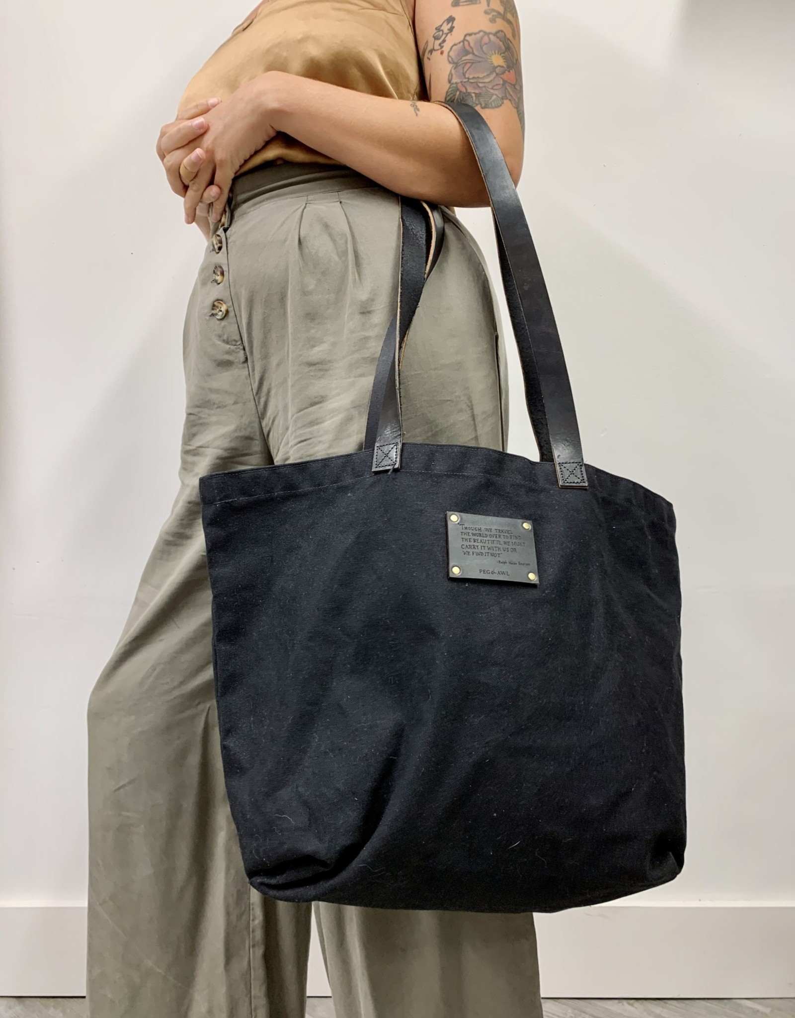 Peg&Awl Seaside Waxed Canvas Tote. Coal with Black Leather Straps and Emerson Quote
