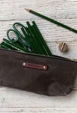 Bloom Pouch by Peg and Awl in Truffle Waxed Canvas with Colored Zipper