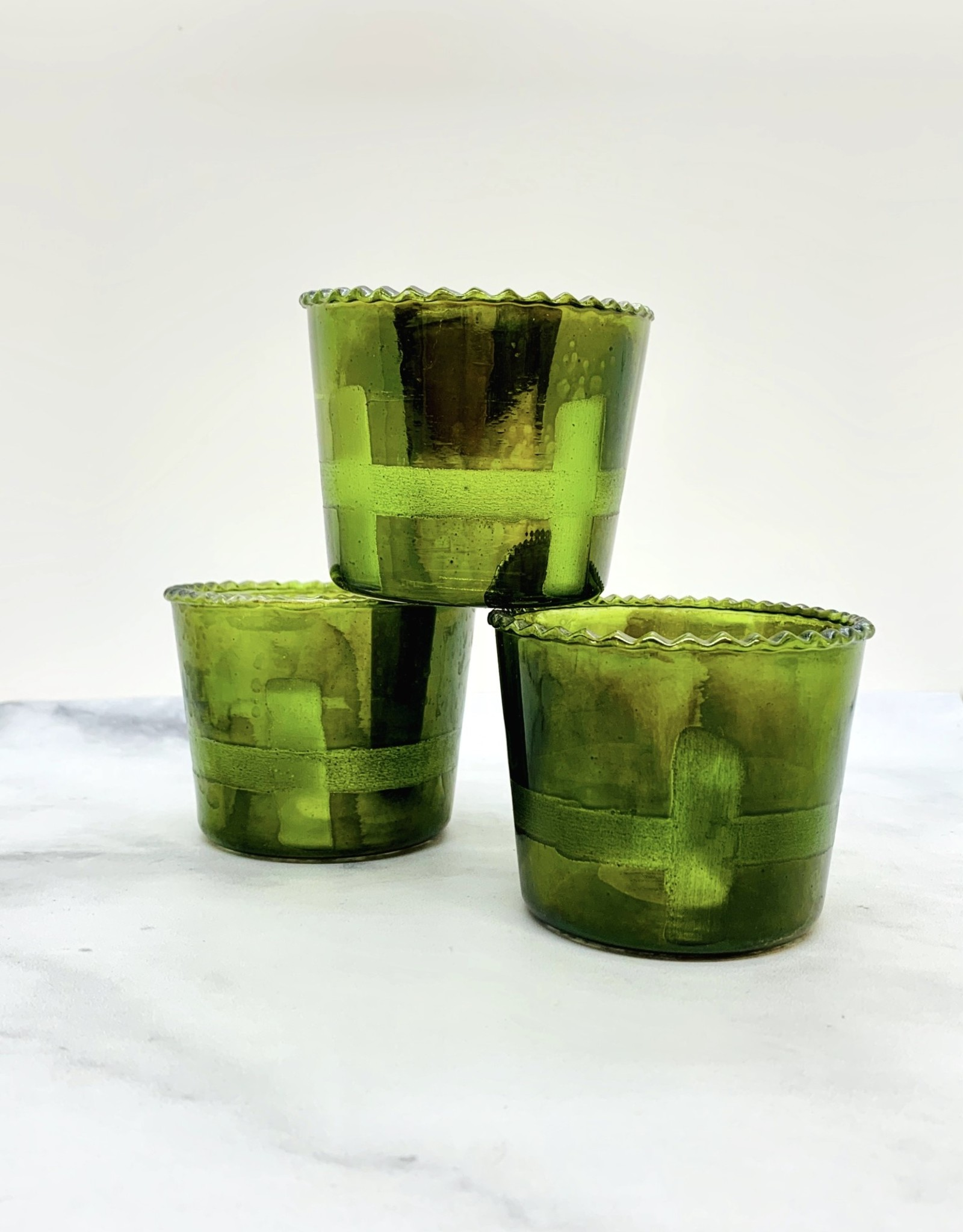 "CREATIVECOOP 3"" Round x 2-3/4""H Green Glass Tealight Holder"