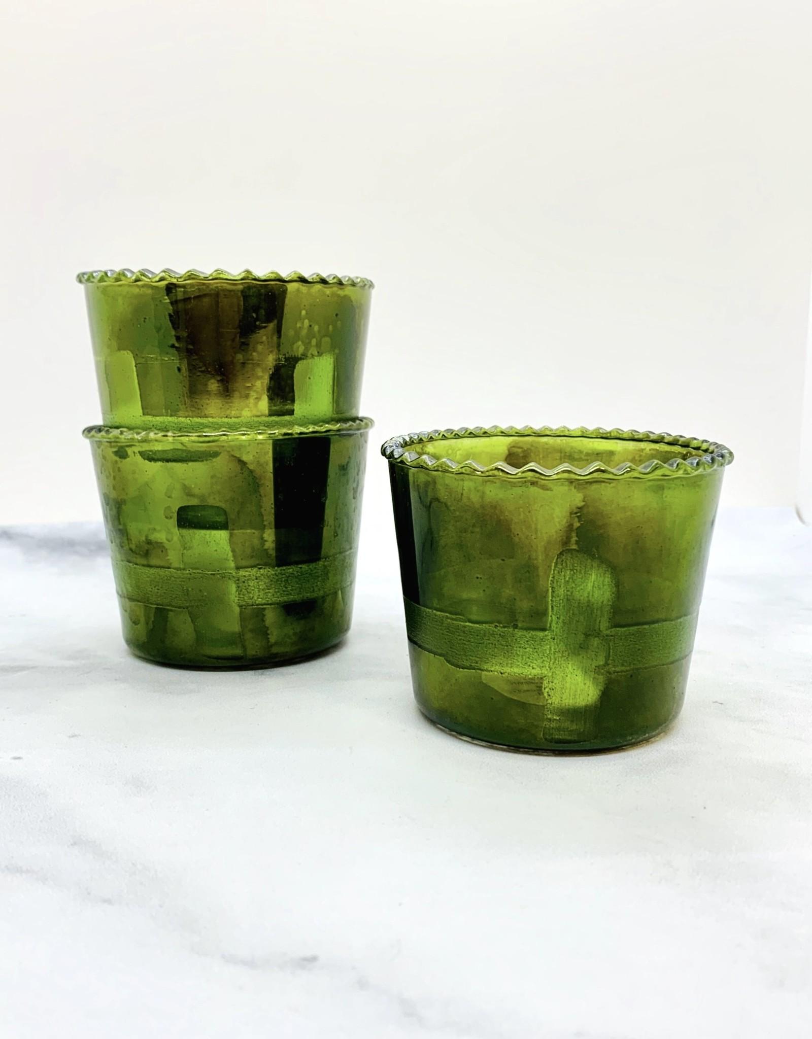 "3"" Round x 2-3/4""H Green Glass Tealight Holder"