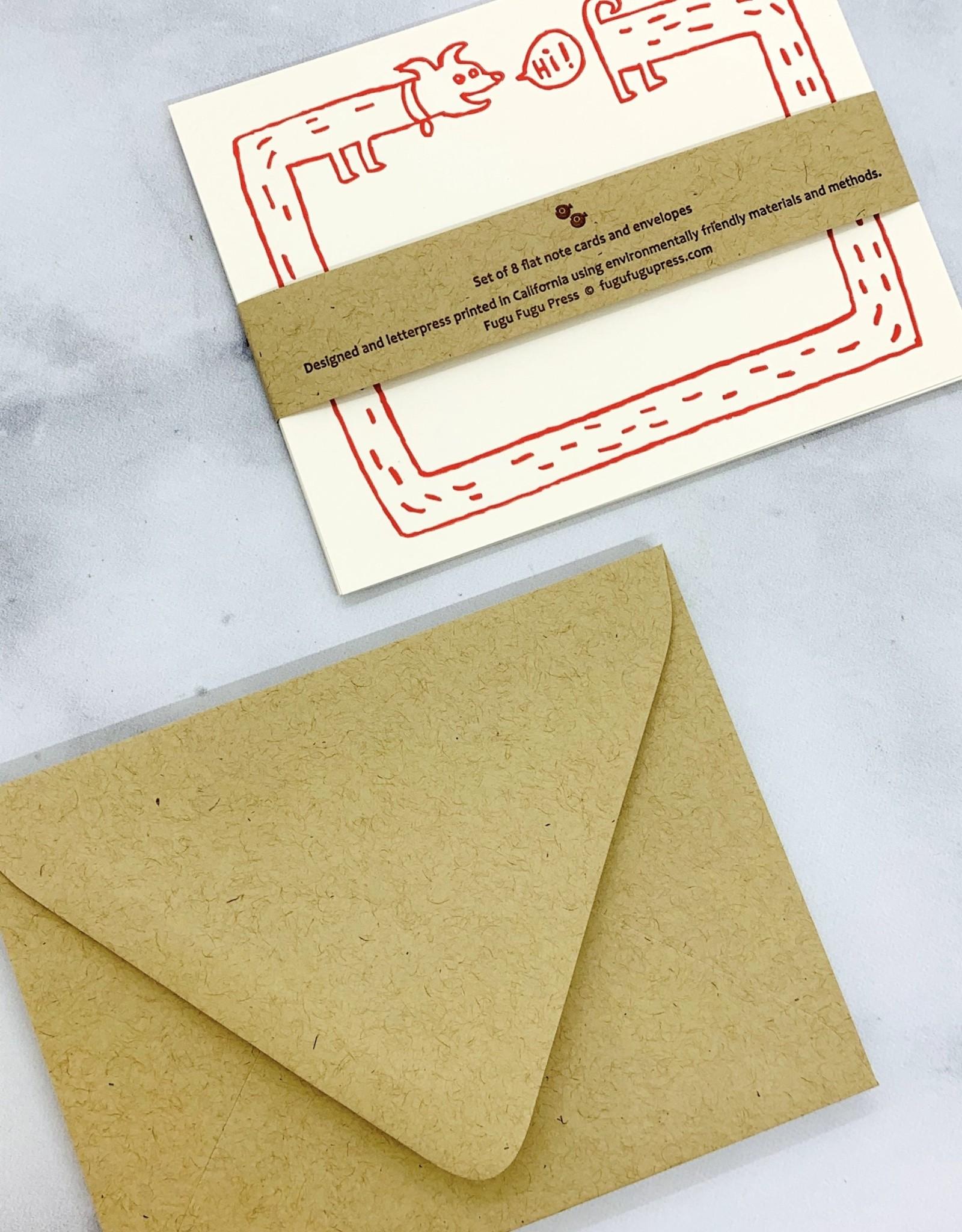 Hi Long Dog Flat Notecards Set of 8