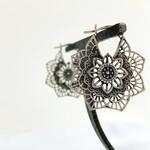 Sterling Silver Ornate Lotus Flower Earrings