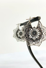 Sterling Silver Ornate Lotus Flower Earrings