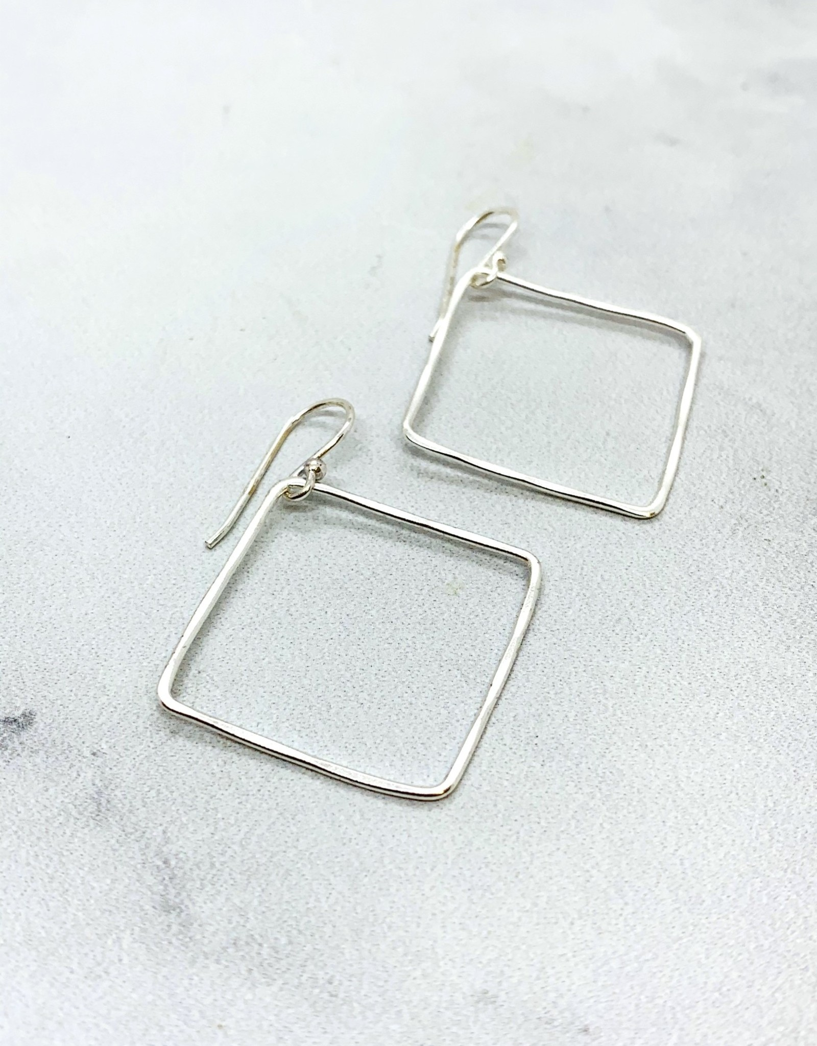 Sterling Silver Square Hook Hoops - 24mm