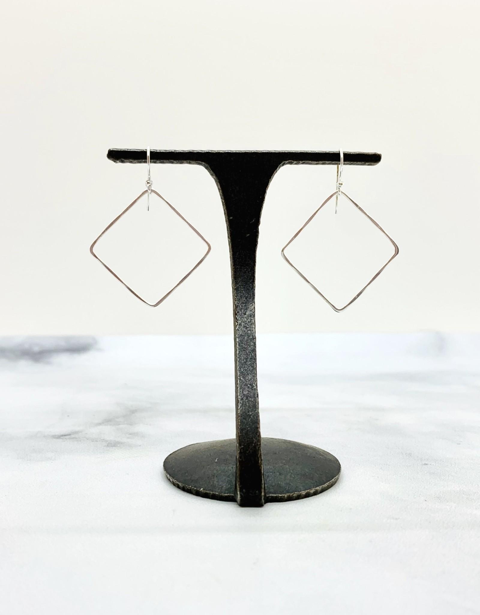 Sterling Silver Square Hook Hoops - 24mm
