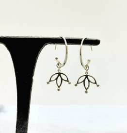 Sterling Silver Hoop Earrings with Floating Lotus Petals