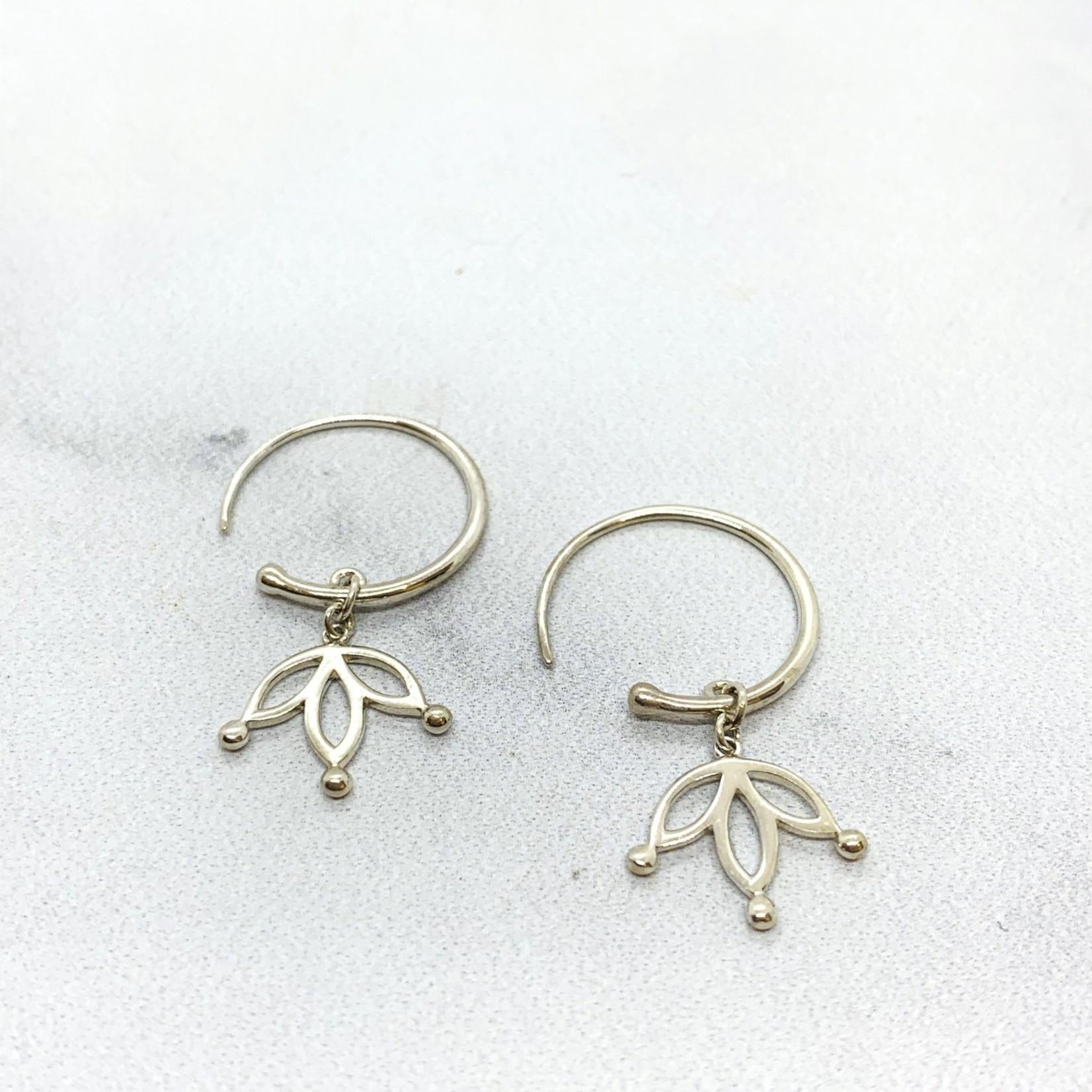 Sterling Silver Hoop Earrings with Floating Lotus Petals