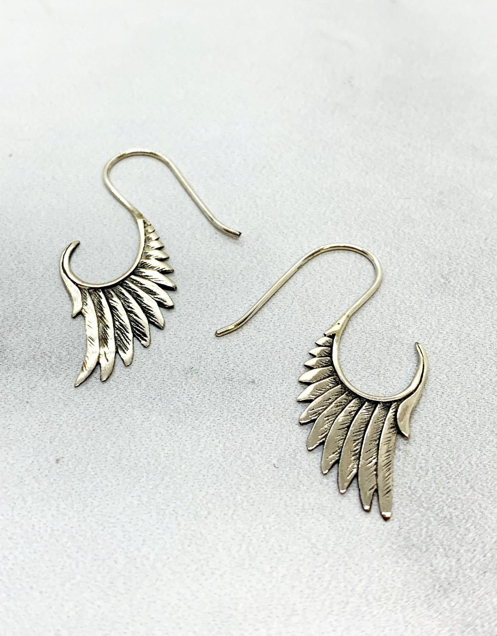 Silver Swoopy Wing Earring
